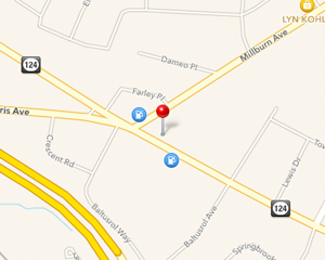 Graphic of a map showing our location with a pin.